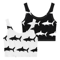 Black/White Shark Printed Summer Fashion Sleeveless Slim Vest Leisure Round Neck Elastic Crop Tank Top = 5617088257