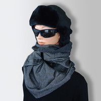 Gray Black Men Women Unisex WOOL Scarf Cozy Cowl with Snaps and Natural Leather by Elena Joliefleur