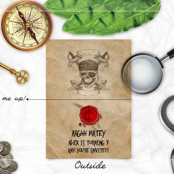 Unique Pirate Party Invitation , Boys birthday invite , treasure map inspired party invite , skull anchor sword adventure for kids