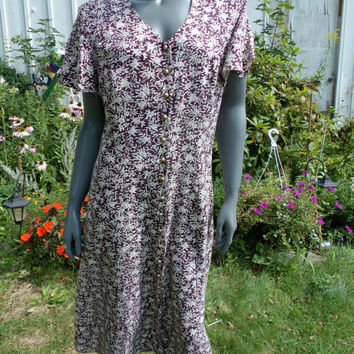 vtg 90s grunge floral tent midi ditsy daisy DRess babydoll Flouncy trapeze calico tiny flower  sm