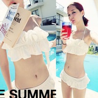 Romantic Womens 2pcs Set Bikini Ruffled Halter Top Bottom Swimsuit