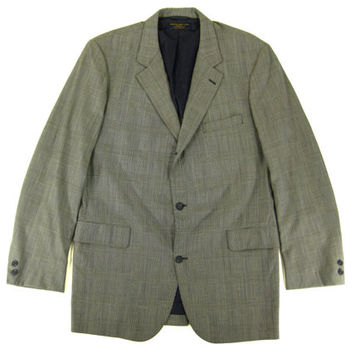 Vintage Brooks Brothers Plaid Blazer - Sport Coat Jacket Black White Ivy League Menswear - Men's Size 44 Large Lrg L