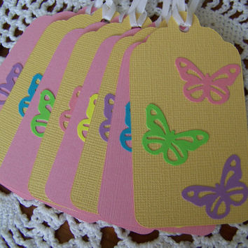 Butterfly Spring Gift Tags set of 8 by EllieMarieDesigns on Etsy