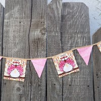 "Owl Material Bunting in Whimsical Pink Prints  6' 7"" with ties Shabby Chic OOAK"