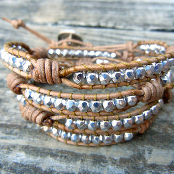 Beaded Leather Wrap Bracelet 4 Wrap with Silver Czech Glass Beads on Natural Tan Brown or Black Leather with Knots