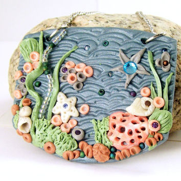 Polymer Clay Jewelry, Under the Sea Pendant, Ocean Art Pendant, Picture Necklace, Fun Jewelry, Jewelry for Women, Handmade Clay Jewelry