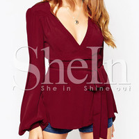 Red Long Sleeve Deep V Neck Blouse -SheIn(Sheinside)
