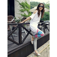 Women Grey Cotton Blends Leggings