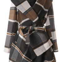 Cupshe Party In Plaid Big Lapel Wool Coat