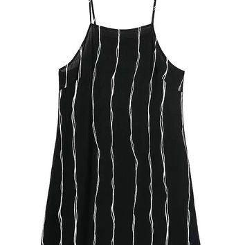 Summer Stylish Women's Fashion Stripes Sexy Backless Spaghetti Strap Dress Tops [6049287553]