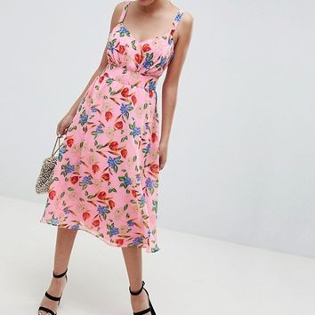 ASOS DESIGN Cut Out Midi Dress In Pink Floral Print at asos.com