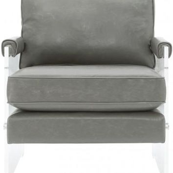 SELENA GREY ECO LEATHER AND LUCITE CHAIR