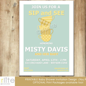 Sip and See invitation, sip & see baby shower invitation - neutral Modern Invitation - mid century modern, unique, mint yellow - You Print