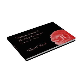 Birthday Party Sign-In Book, Coral Pink Rose Guest Book