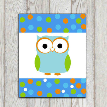 Owl wall art print Polka dot Boys bedroom art Boys room decor Blue orange green white Nursery wall art Customize colors INSTANT DOWNLOAD
