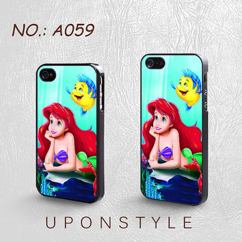Phone Cases, iPhone 5 Case, iPhone 5s Case, iPhone 4 Case, iPhone 4s case, Ariel The Little Mermaid, Disney, Case for iphone, Case No-059