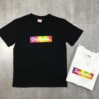 """Supreme"" Unisex Casual Letter Oil Color Box Logo Print Short Sleeve Couple T-shirt Top Tee"