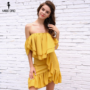 Missord 2017 Sexy slash neck off the shoulder ruffles elegant mini  dress FT8341