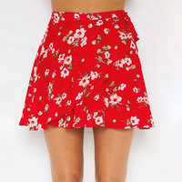 Print Red Irregular Beach Sea Vacation Dress Skirt [11241416207]