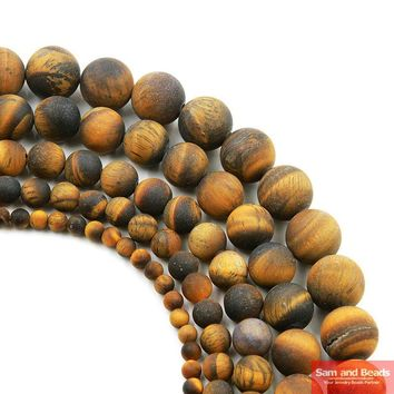Free Shipping Natural Stone Dull Polish Matte Brown Gold Tiger Eye Agata Round Beads 4-12mm Pick Size For Jewelry Making MYTB01