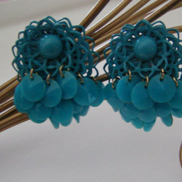 Vintage 60's Turquoise Blue Multi Layered Lacey And  Fringe Style Flattened Bead Hanging Clip On Earrings