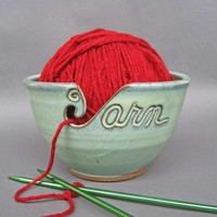 Yarn Bowl in Green (As Featured in Vogue Knitting) MADE TO ORDER