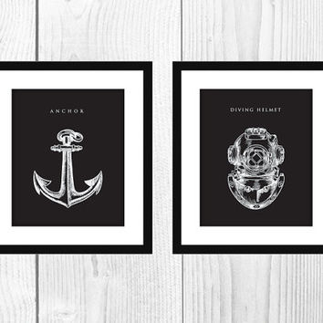 "2 Midnight Black 8x10"" Nautical Art Prints Instant Download"