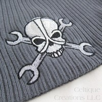 Gearhead Gray Cotton Beanie Cap Mechanic Metal Skull Fight with Mike