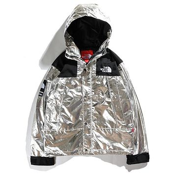 Supreme & The North Face Newest Fashionable Couple Metal Color Hoodie Cardigan Jacket Coat Windbreaker Silvery