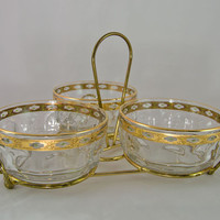 Vintage Culver Valencia Three Dish Server with Gold Carrier - 22K Gold Leaf - Arcoroc, France