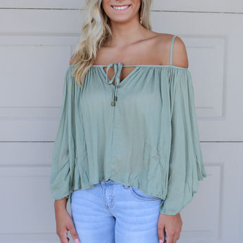 Sonoma City Dusty Olive Bell Sleeve Off The Shoulder Top