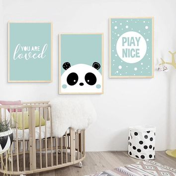 Cartoon Panda Wall Art Canvas Painting Nursery Posters and Prints Nordic Kids Decoration Pictures Baby Boys Bedroom Decor