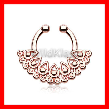Rose Gold Fake Septum Ring Horseshoe Arioso Filigree Clip-On Ring Cartilage Earrings Nipple Ring Circular Barbell Tragus Jewelry Helix Conch