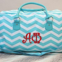 Alpha Phi Chevron Weekender Bag Personalized with Curlz Monogram