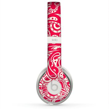 The Red Floral Paisley Pattern Skin for the Beats by Dre Solo 2 Headphones