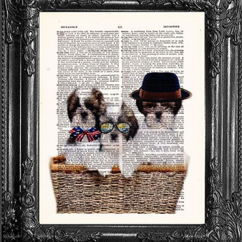 Cute Puppies In A Basket-Dictionary Print-Cute Puppy Poster-Dog Lover Poster-Dog Lover Gift-