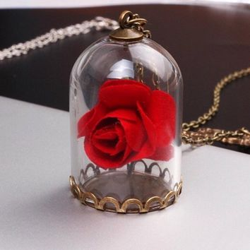 Beauty and the Beast Red Rose Inspired Charm Necklace