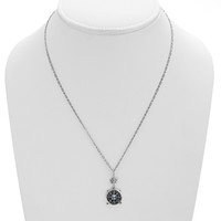 Dharmachakra Sterling Silver Blue Topaz Grace Necklace