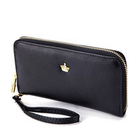 2016 New Women Ladies Wallets Soft Leather Wallet Crown Clutch Leather Bags Purse Popular Handbags With Strap Free Shipping J415