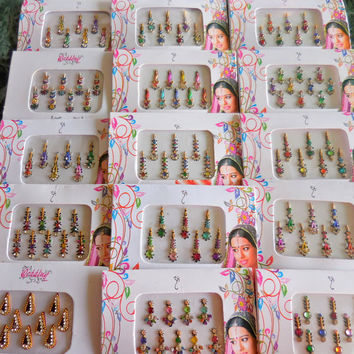 10 Packs BINDI SALE lots bulk bindi sticker /tattoos face jewels dots third eye bindi bellydance bindi jewelry indian bindi body decoration