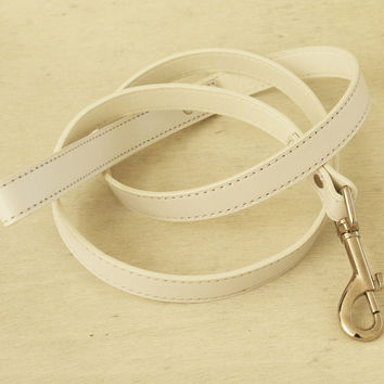 White Dog Leash, White Leather Leash, Pet Accessories, White, Dog Leash, Dog Accessory