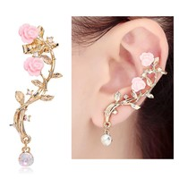 CIShop Pink Rose Diamond Ear cuff Earrings stud Punk Style Ear Wrap(left ear)