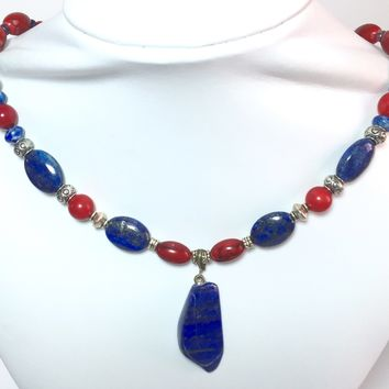 "19.5"" Lapis Lazuli, Silver, and Red Bamboo Coral Necklace, with  2"" Lapis Pendant"