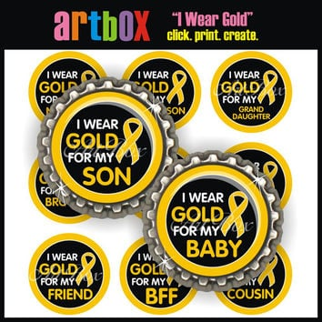 I Wear Gold Childhood Cancer Awareness Bottle Cap Images - 4x6 Digital Collage Sheet - 1 Inch Circles for Pendants, Hair Bows, Magnets