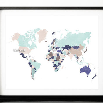 "10x8"" 20x16"" Printable world map with countries and names, cream, brown, aqua, navy blue, wall art printable, 20x16"" map print - map138 005"