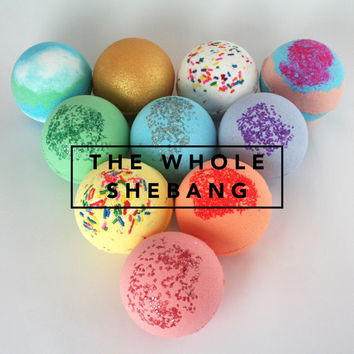 The Whole Shebang, 10 Bath Bombs, Bath Bomb, Bath Fizzers, Bath Fizzies, Surprises Inside, bath and body