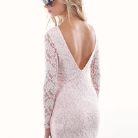 Light Pink Lace Vintage Inspired Shift Dress with V-Back