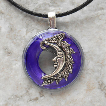 moon necklace: purple - moon goddess - goddess jewelry - moon jewelry - unique gift - goddess necklace - nature necklace - mothers day