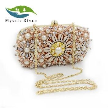 Mystic River Luxury Beaded Pearl Day Clutches Crystal Evening Messenger Bags Charming Design Party Wedding Purse Lady Shoulder