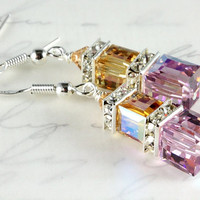 Light Amethyst and Topaz Crystal Earrings, Swarovski, Crystal Cubes, Sterling Silver